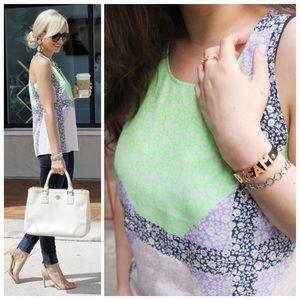 j. crew // windowpane floral silk tank top blouse